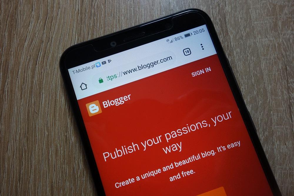 Blogger.com website displayed on smartphone