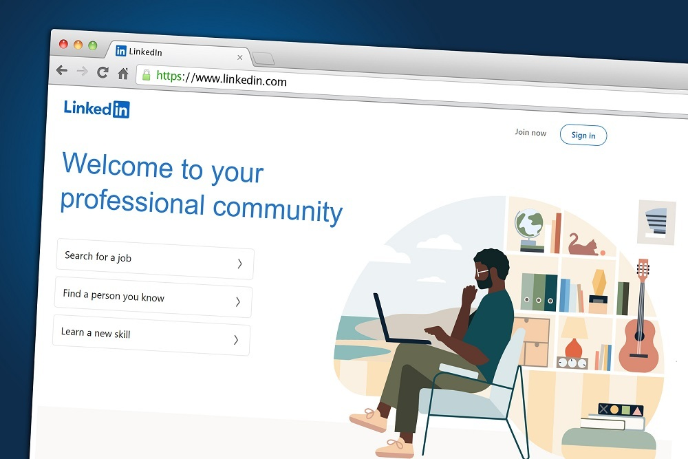 A business and employment-oriented online service LinkedIn displayed on a web browser