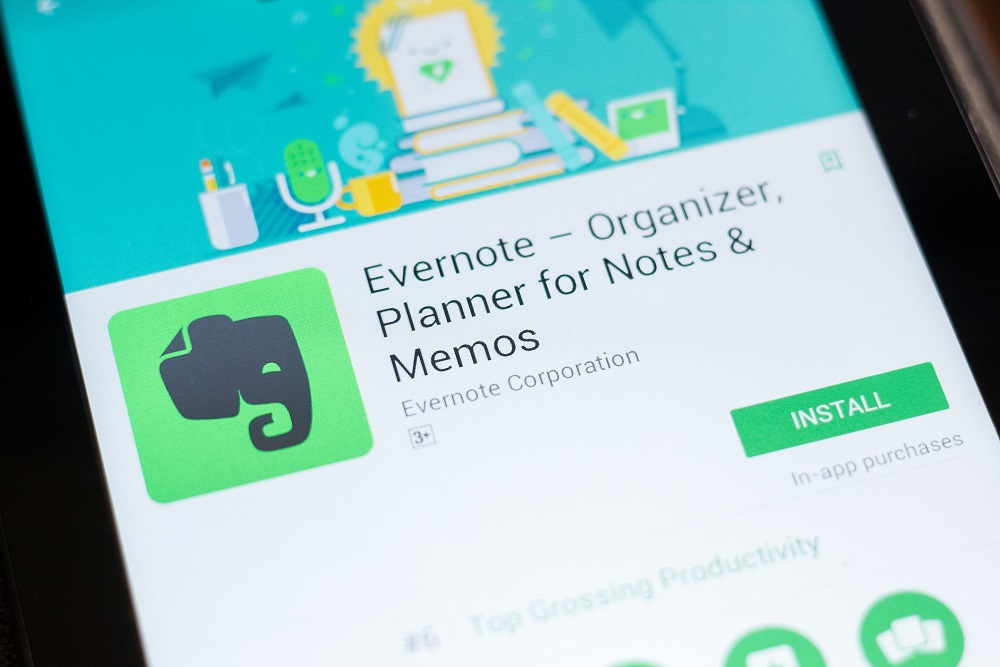 Evernote - Organizer, Planner for Notes mobile app on the display of tablet PC.