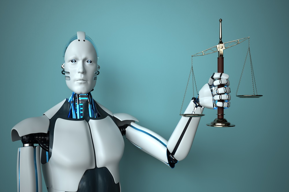 Humanoid robot holds the scales of justice. 3d illustration.