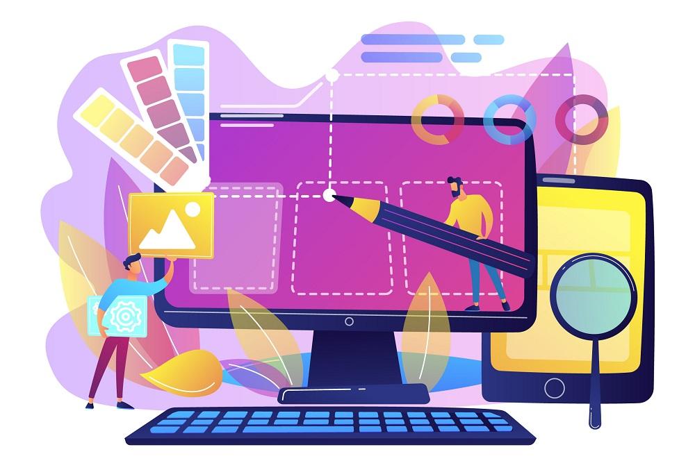 2 web designers designing a website