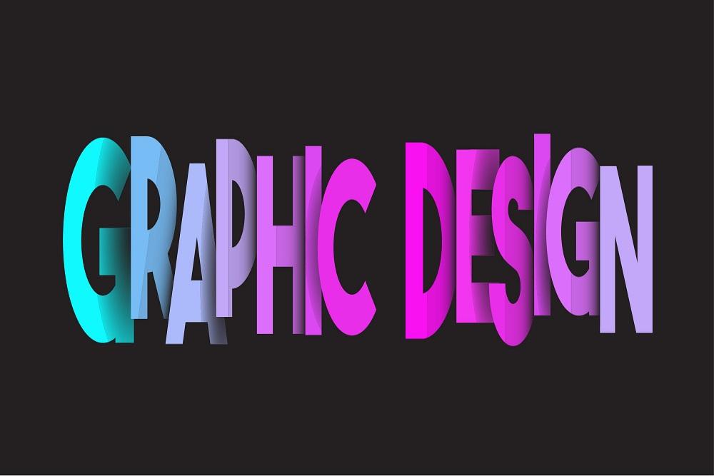 Graphic design written in multiclours