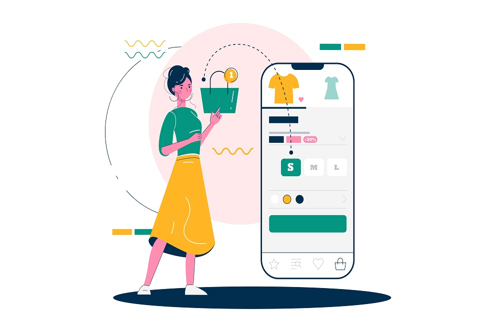 A girl is shopping using m-commerce service