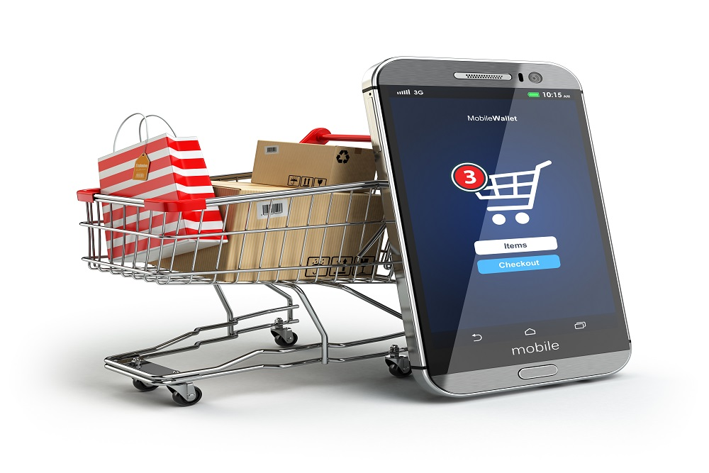 Mobile phone or smartphone with cart and boxes and bag