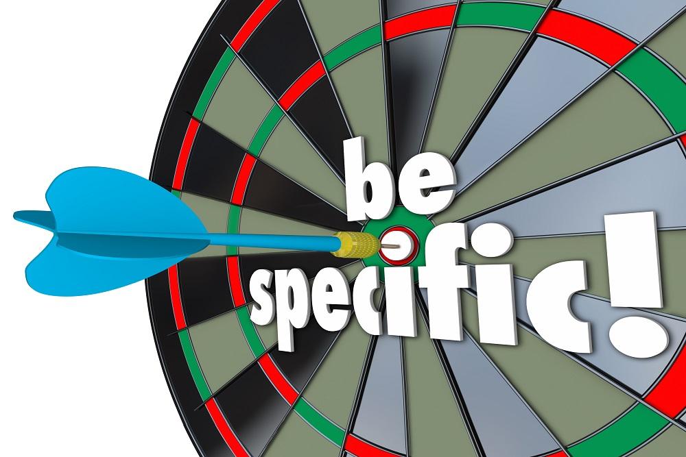 Be Specific Words Dart Board Targeting