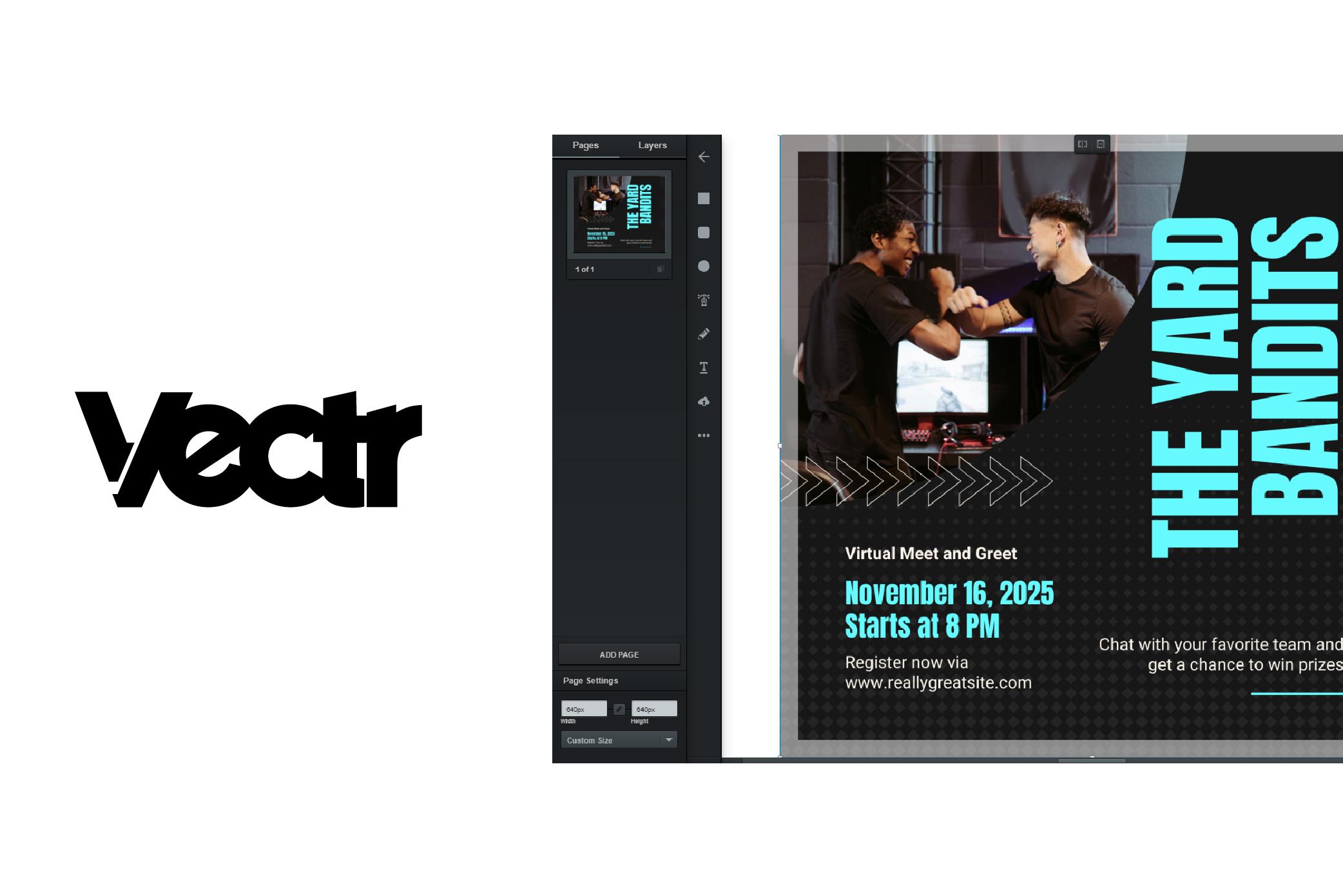 UI of Vectr software