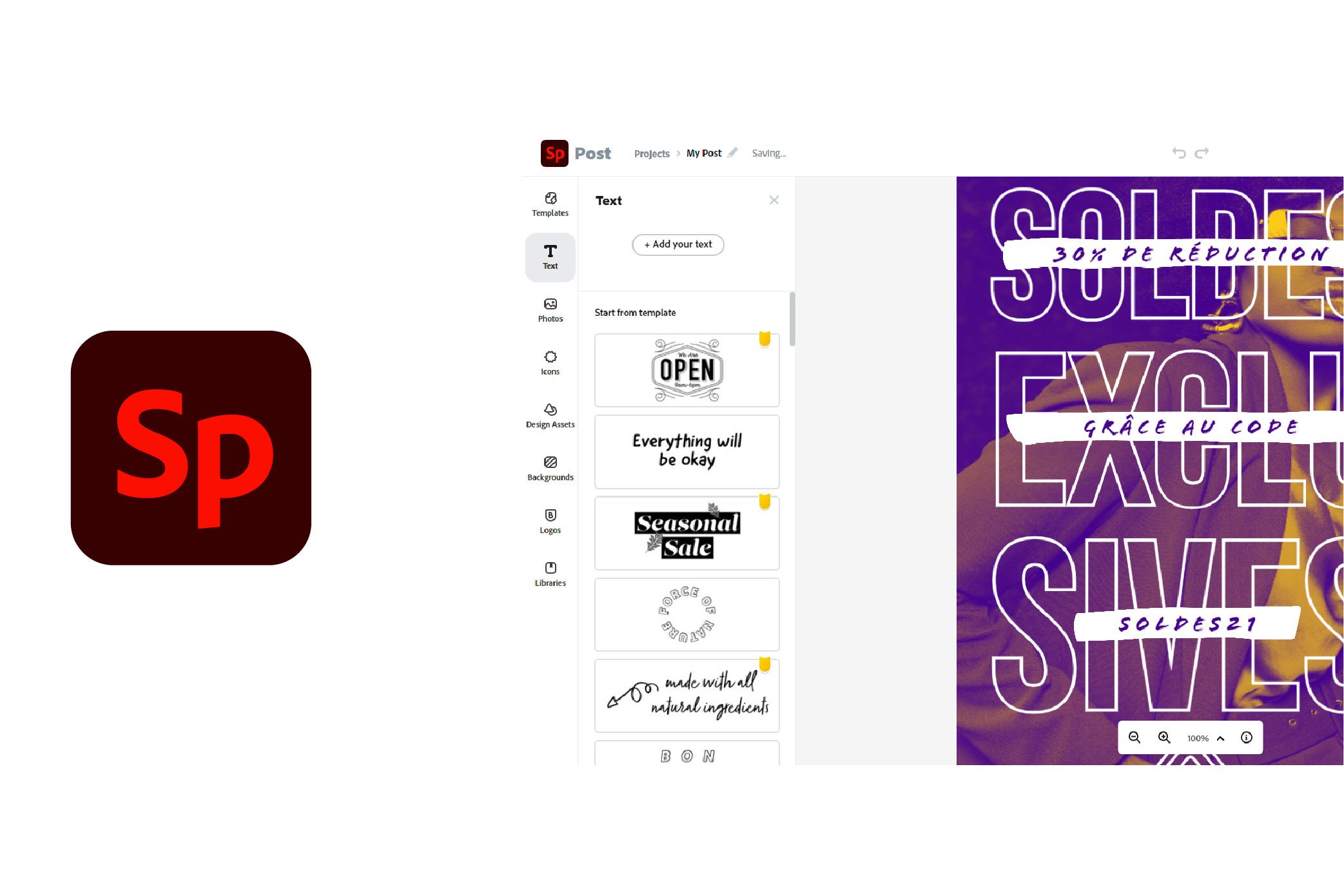 UI of Adobe Spark tool