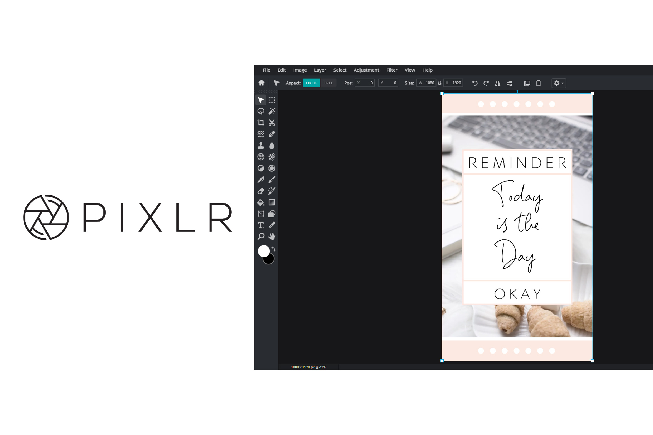 User interface of Pixlr software