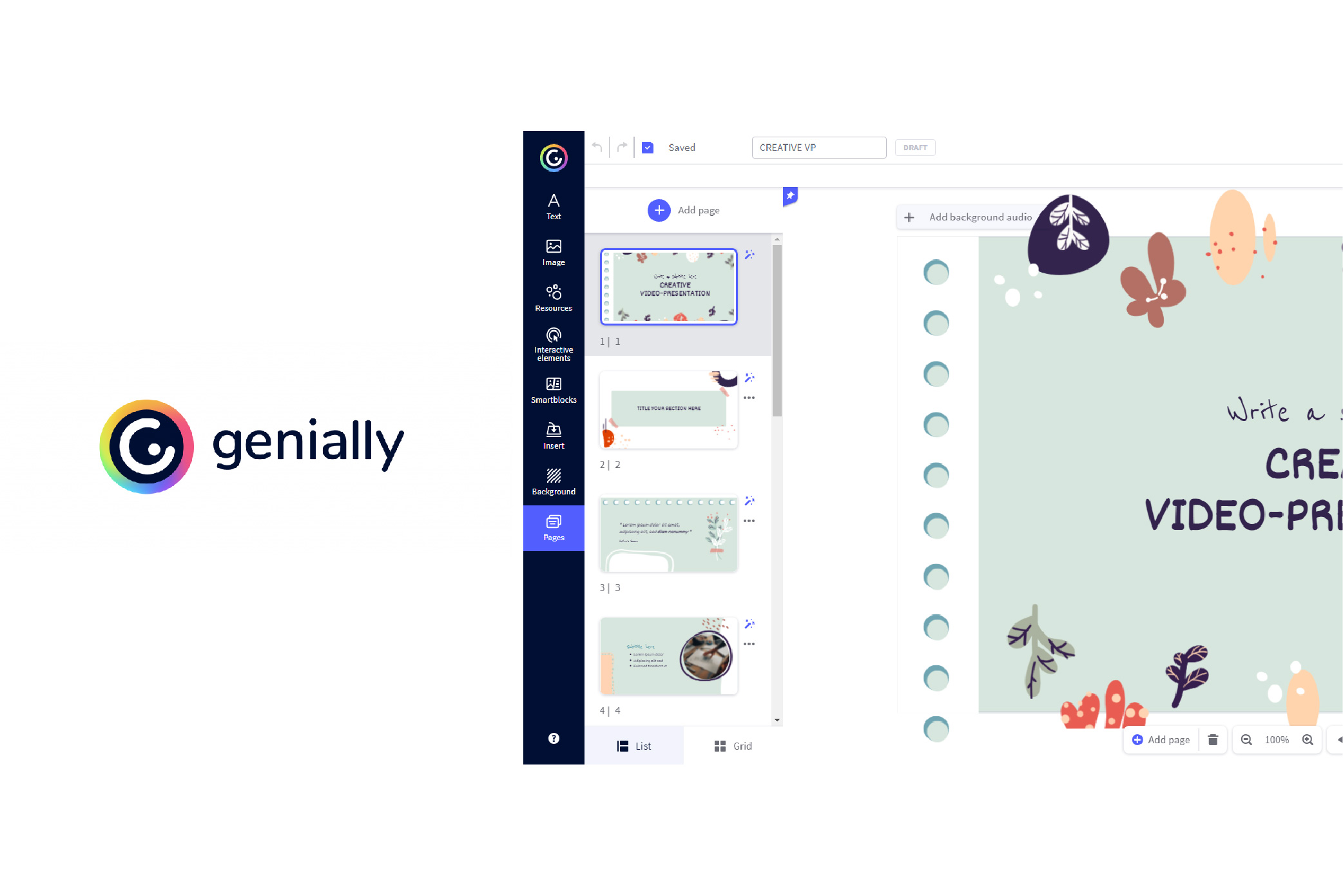 Genially graphic software interface