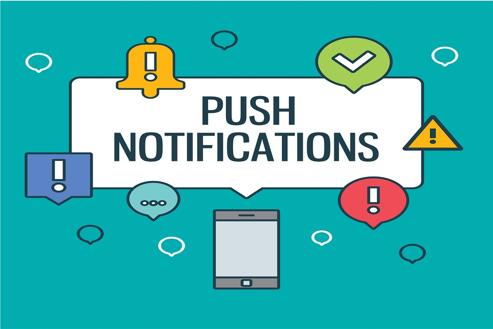 Different types of push notification showing on mobile device